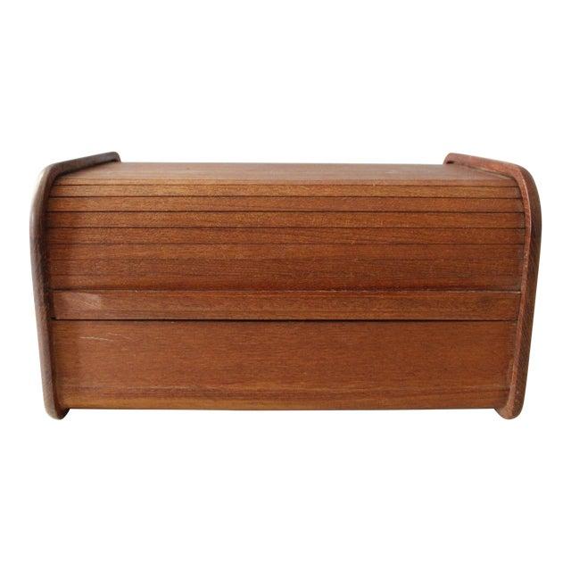 Kalmar Teak Wood Tambour Storage Box CD Organizer Danish Modern For Sale