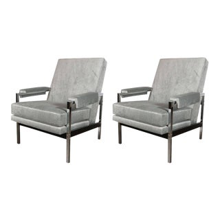 Mid-Century Modern Ebonized Walnut and Chrome Armchairs