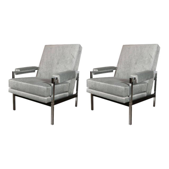 Mid-Century Modern Ebonized Walnut and Chrome Armchairs For Sale