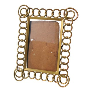 Antique Brass Link Photo Frame For Sale