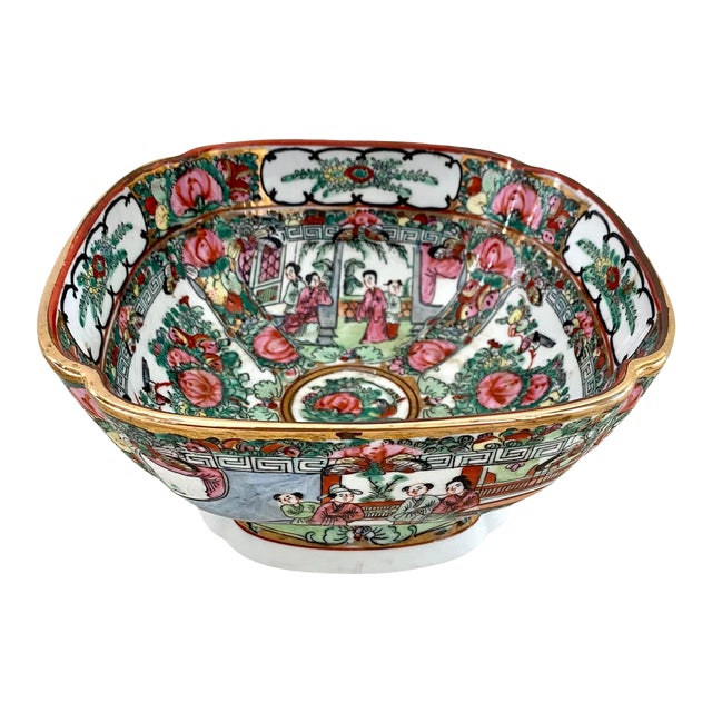 Vintage Pedestal Rose Famille Medallion Bowl For Sale