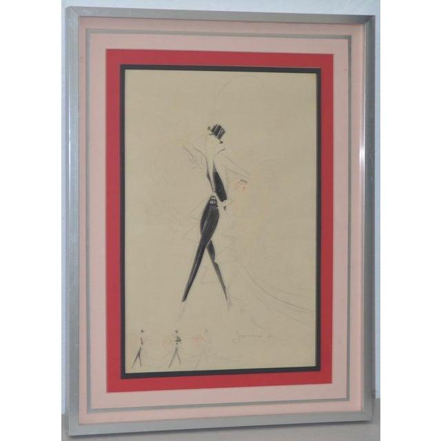 Red Vintage Art Deco Fashion Original Illustration by Jesmar C.1925 For Sale - Image 8 of 8