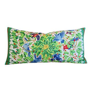 Hermes Custom Floral & Bird Silk Feather/Down Body Pillow For Sale