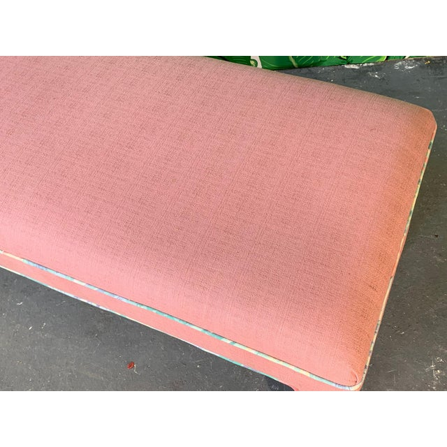 Wood Pink Upholstered Bench Seat Circa 1980s For Sale - Image 7 of 8