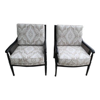 Refinished Vintage Accent Chairs With Wicker Planels - a Pair For Sale