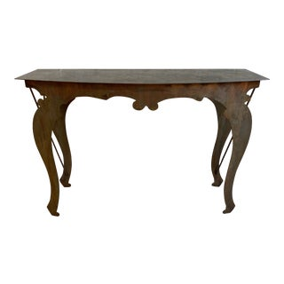 Late 20th Century Rustic Custom Iron Patina Console Table For Sale