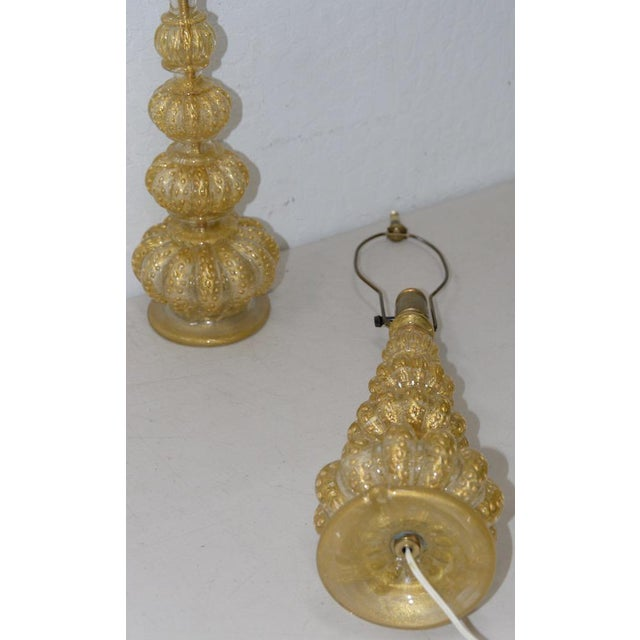 Italian Pair of Barovier & Toso Venetian Glass Mid-Century Modern Table Lamps C.1950 For Sale - Image 3 of 8