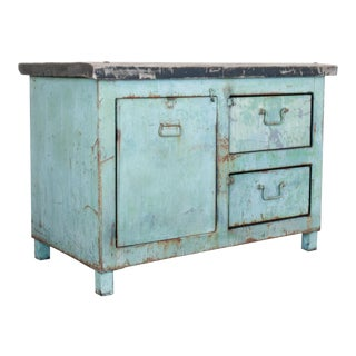 1950s French Industrial Green Work Table For Sale