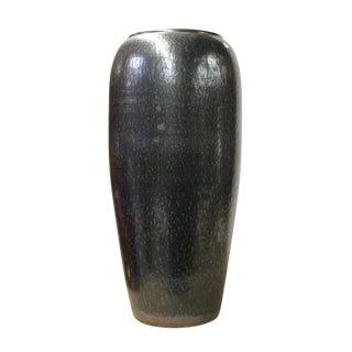 Ceramic Metallic Black Glaze Tall Slim Vase Jar cs2615 For Sale