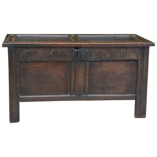 Antique English Carved Oak Two-Panel Blanket Chest For Sale