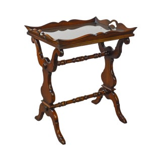 William IV English Regency Style Solid Mahogany Carved Tray Top Side Table