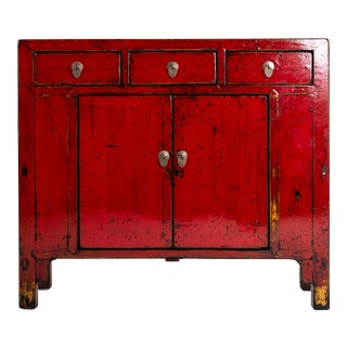 1920s Vintage Red Lacquer Chinese Cabinet For Sale