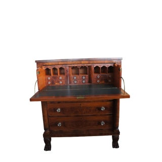 19th Century Federal Empire Burled Walnut Secretary Desk