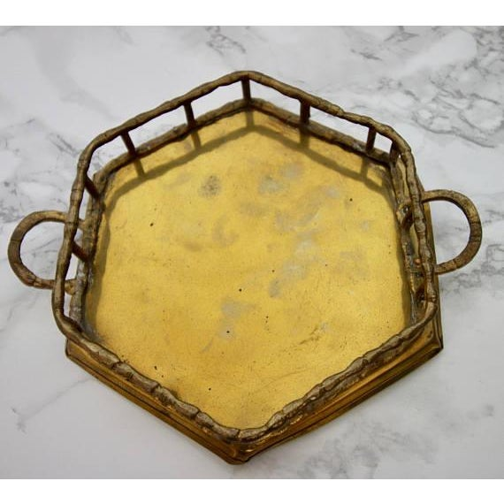 Vintage Brass Bamboo Octagon Tray - Image 2 of 4