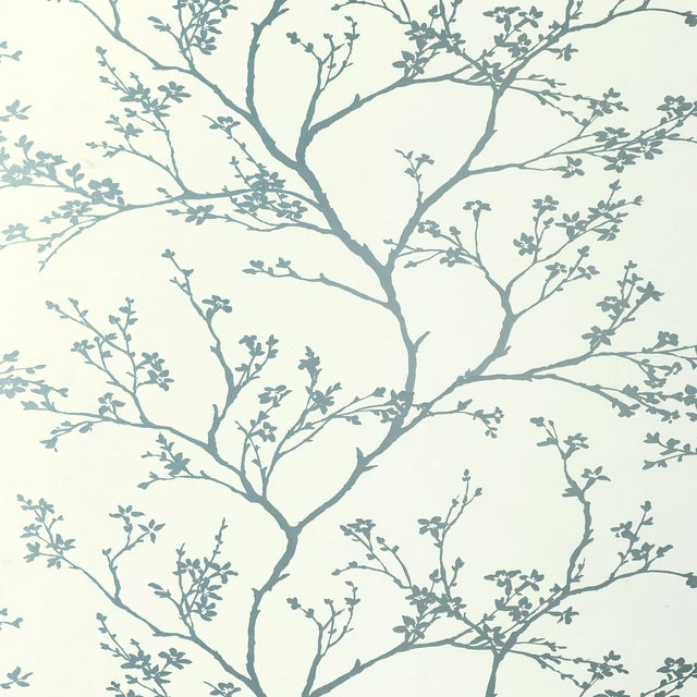 Schumacher Twiggy Wallpaper in Silver For Sale