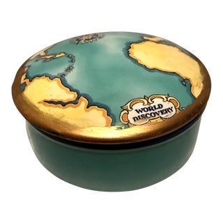 Vintage Tiffany & Co World Discovery Map Porcelain Trinket Box For Sale