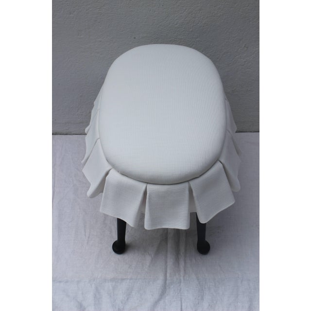 Ebonized Oval Stool With Box Pleated Skirt For Sale - Image 4 of 8