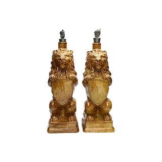 Vintage Figural Lion Decanters - a Pair For Sale