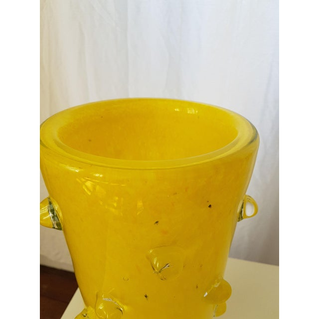 Yellow Murano Glass Vases, 1980s, Attributed to Cenedese - a pair For Sale In Boston - Image 6 of 7