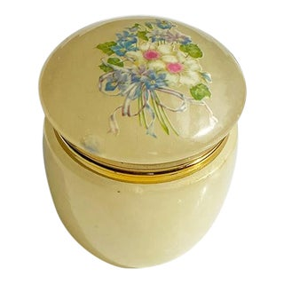 Round Yellow Alabaster Stone Trinket Box With Floral Motif - Italy For Sale