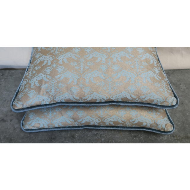 Rococo Blue Richelieu Lion Fortuny Pillows - a Pair For Sale - Image 3 of 7
