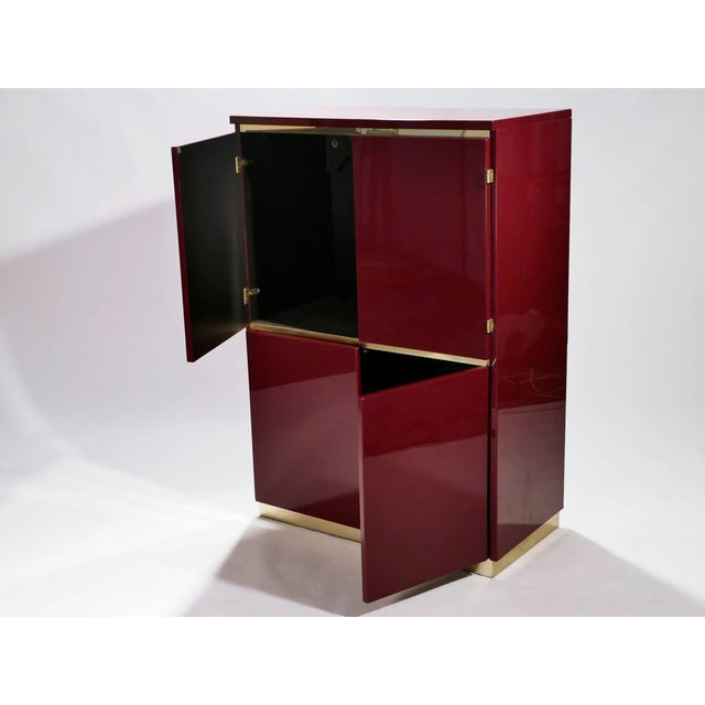 Jean Claude Mahey Red Lacquer and Brass Cabinet by j.c. Mahey, 1970s For Sale - Image 4 of 8