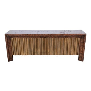 Bernhard Rohne for Mastercraft Hollywood Regency Brass and Burled Carpathian Elm Wood Credenza For Sale
