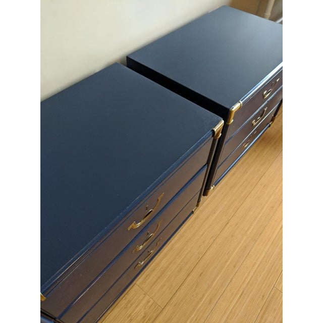 Drexel Drexel Accolade Campaign High Gloss Blue Nightstands / End Tables - A Pair For Sale - Image 4 of 9