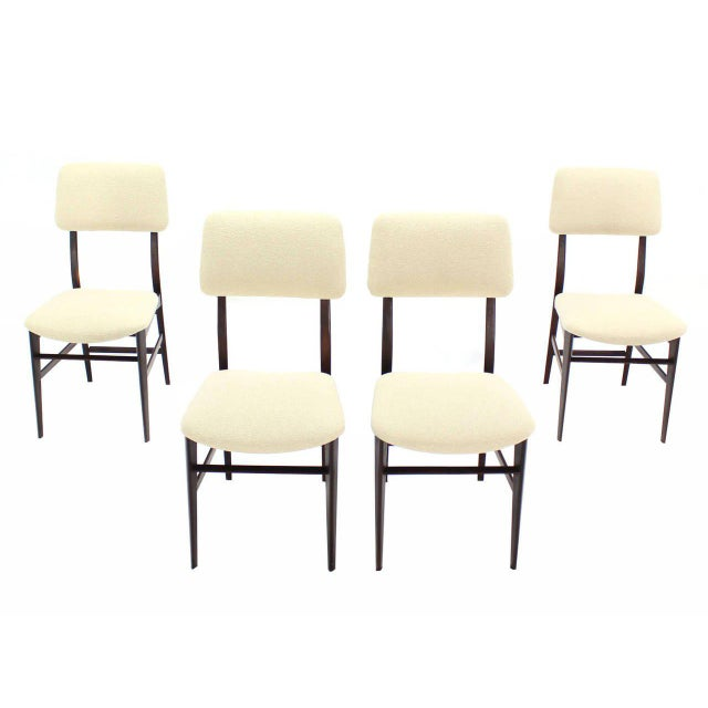 Lacquer Set of Four Italian Modern Walnut Dining Chairs New Upholstery For Sale - Image 7 of 7