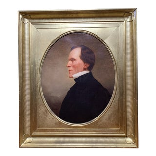 19th Century Signed Portrait Painting in the Giltwood Frame For Sale