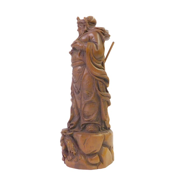 Chinese Wood Carved General Guan Statue - Image 3 of 6