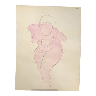 1950s Mid-Century Bending Female Nude Watercolor Painting For Sale