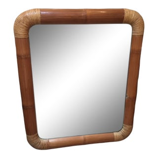 1950s Mid-Century Modern Fat Bamboo Mirror For Sale