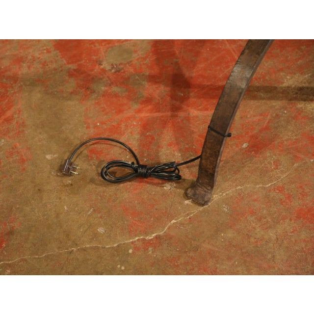 Tall 19th Century French Black Forged Iron Anchor Rope Floor Lamp For Sale - Image 11 of 12
