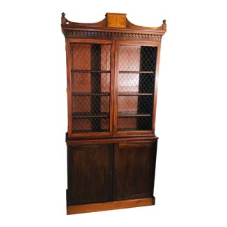 19th Century Sheraton Style English Cupboard Bookcase With Grill Doors For Sale