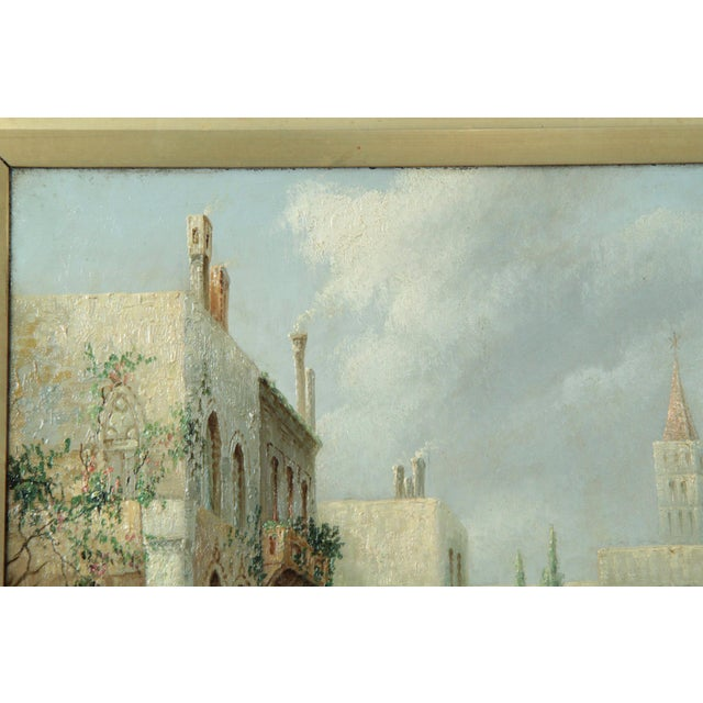 British Grand Canal Venice Antique Oil Paintings by James Salt - a Pair For Sale - Image 6 of 11