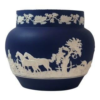 Adams Blue Jasperware Planter/Cache Pot For Sale