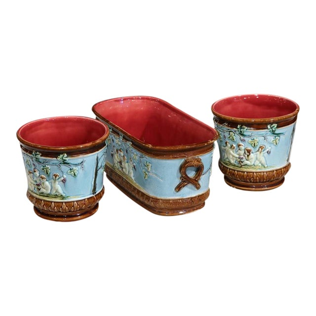19th Century French Hand-Painted Barbotine Jardiniere & Cachepots - Set of 3 For Sale