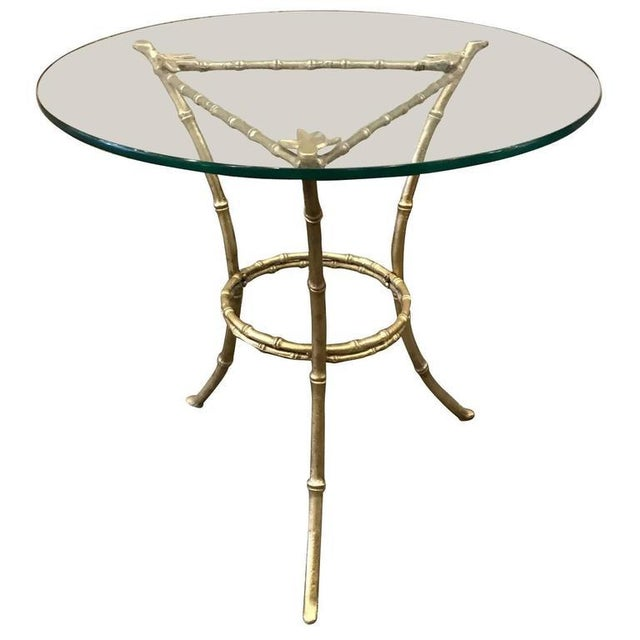 French French Baguès Faux Bamboo Bronze Side Table For Sale - Image 3 of 3