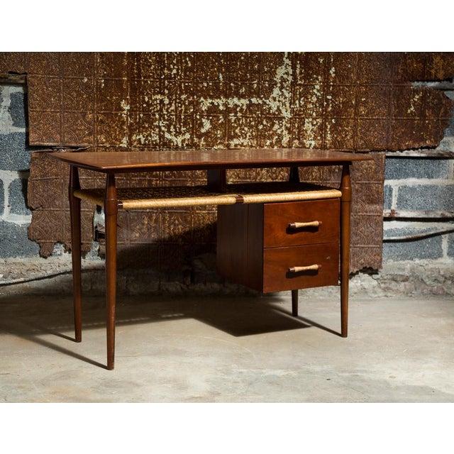 Mid-Century Desk with Wicker Shelf - Image 2 of 11