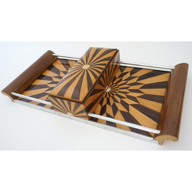Brown Art Deco 1920s Paul Giordano Paris Serving Tray Exotic Wood Parquet For Sale - Image 8 of 12