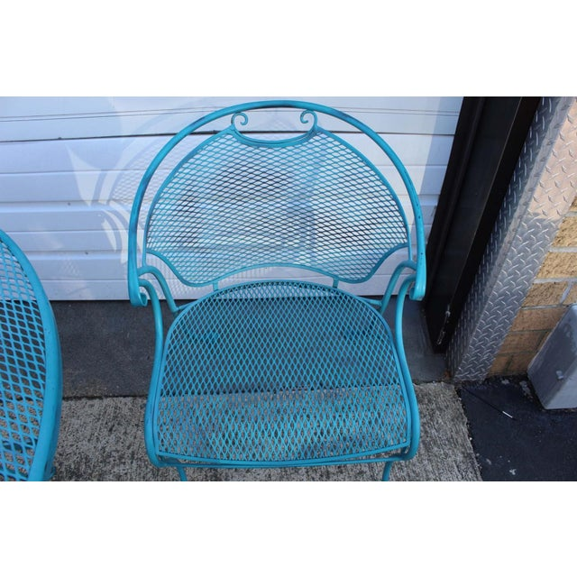 Mid Century Modern Aqua Blue Wrought Iron Patio Set With Lounge on Wheels For Sale - Image 11 of 13