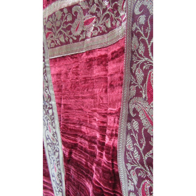 Boho Chic Red Velvet & Gold Lamé Bedcover/Textile Art - Image 4 of 6