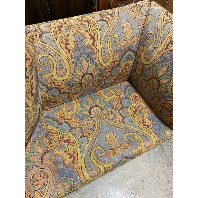 Wood 1990s Vintage Italian Etro Paisley Tapestry Fabric Sofa For Sale - Image 7 of 12