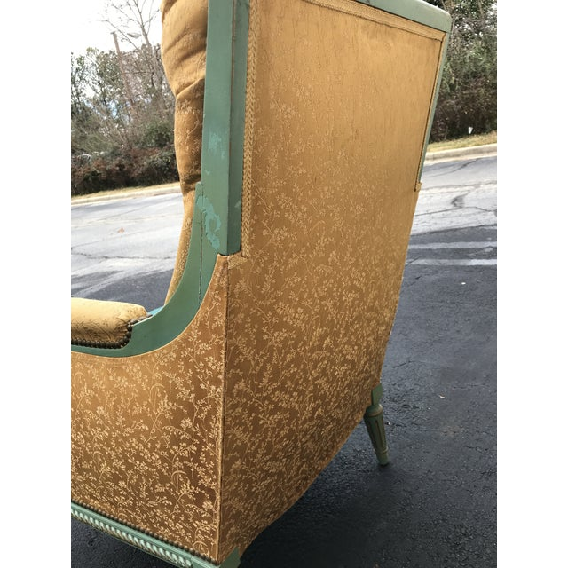 Antique Victorian Turquoise and Gold Upholstered Chair For Sale - Image 4 of 8