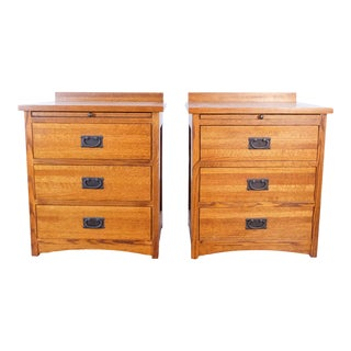 Mission Style Oak Nightstands - a Pair For Sale