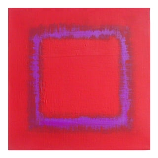 Red With Violet Acrylic on Canvas Painting
