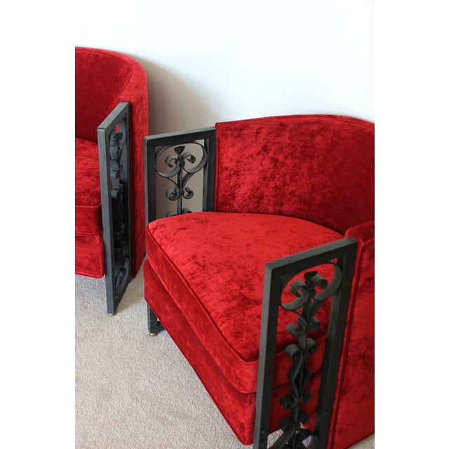 Wrought Iron and Red Velvet Club Chairs - Pair - Image 9 of 9