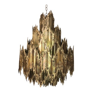 Large Seven Tier Tom Greene Brutalist Torch Cut Brass Chandelier - Feldman Lighting Company For Sale