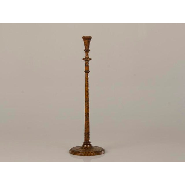 Modern 19th Century English Tall & Slender Carved Pokerwork Candlesticks - a Pair For Sale - Image 3 of 11